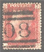 Great Britain Scott 33 Used Plate 122 - JD