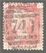 Great Britain Scott 33 Used Plate 117 - AB