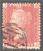 Great Britain Scott 33 Used Plate 82 - BJ