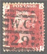Great Britain Scott 33 Used Plate 106 - AF