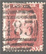 Great Britain Scott 33 Used Plate 184 - DH