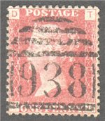 Great Britain Scott 33 Used Plate 150 - TD
