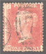 Great Britain Scott 33 Used Plate 102 - MJ
