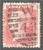 Great Britain Scott 33 Used Plate 108 - OF