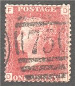Great Britain Scott 33 Used Plate 201 - DF
