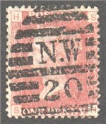 Great Britain Scott 33 Used Plate 148 - SH