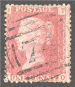 Great Britain Scott 33 Used Plate 71 - TD