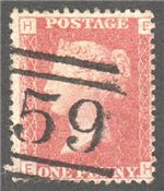 Great Britain Scott 33 Used Plate 108 - EH