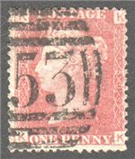 Great Britain Scott 33 Used Plate 130 - KK