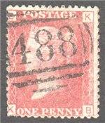Great Britain Scott 33 Used Plate 91 - KB