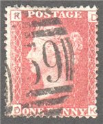 Great Britain Scott 33 Used Plate 157 - DK