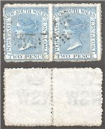 New South Wales Scott 62c Used Pair (P)