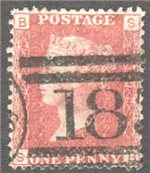 Great Britain Scott 33 Used Plate 192 - SB