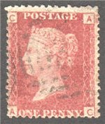 Great Britain Scott 33 Used Plate 110 - AC