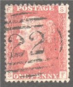 Great Britain Scott 33 Used Plate 131 - SF