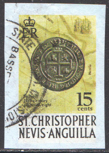St. Christopher-Nevis-Anguilla Cut Square Used